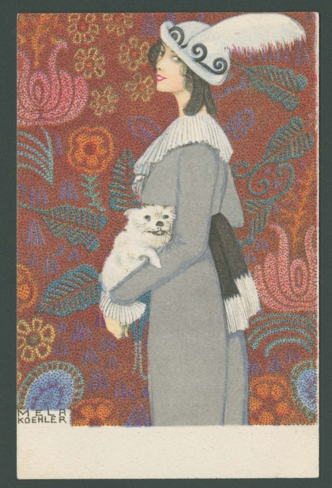 White Dog with a Woman in a Gray Coat